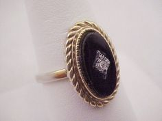Vtg 1970s ESPO 14KT GE Oval Faux Onyx Gls Clear Rhinestone Gold Plated Ring 8.75 #ESPOJosephEsposito #Antique