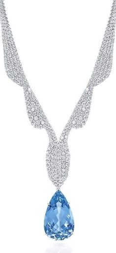 GABRIELLE'S AMAZING FANTASY CLOSET | Harry Winston Jewels | 42.92 Pear Cut Vivid Blue Diamond Necklace |