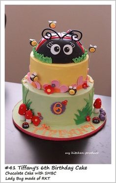 "Lady Bug Theme Cake  (I so wish I could decorate cakes, one of my granddaughter's nick name is ""Ladybug 2""  She would LOVE LOVE LOVE this cake!)"
