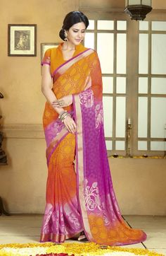Multicolor Georgette and Georgette Blouse Printed Saree