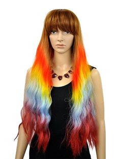Light Brown Long Wavy Rainbow Ombre Wig With Fringe - Nicki
