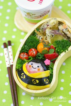 I entried this Kimono Girl Bento for the Japan Society Virtual Bento Box Battle. Japanese Bento Box, Japanese Food Art, Japanese Style, Cute Bento Boxes, Bento Box Lunch, Box Lunches, Bento Recipes, Bento Ideas, Decadent Food