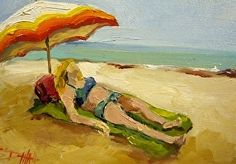 Beach Diva No. 12 by Delilah Smith Oil ~ 5 x 7