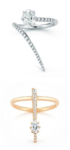 Two beautiful diamond rings by Jade Trau, both featuring exquisite Forevermark diamonds.