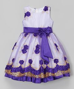 Love this Purple Floral Embroidered Overlay Dress - Infant, Toddler & Girls by Kid Fashion on #zulily! #zulilyfinds