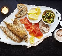 This indulgent sharing platter makes an impressive dinner party starter with trout pâté, crisp coated mackerel fillets and smoked salmon