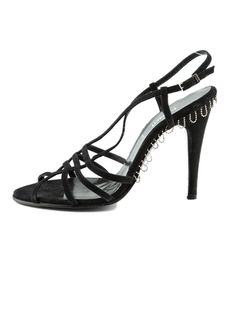 Fendi Black suede strap heel sandals with silver-tone bead embellishment at exterior