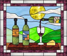 images of stained glass grapes and wine glass | Glass Eye 2000 Stained Glass Software - Design of the Month