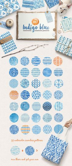 Introducing Volume 2 of the my new handy watercolor patterns collection! Set of 36 lovely indigo blue watercolor seamless patterns. Perfect for branding, websites, digital media, packaging Watercolor Red, Watercolor Pattern, Abstract Pattern, Watercolor Branding, Watercolor Design, Pattern Drawing, Watercolor Paintings, Graphisches Design, Pattern Design