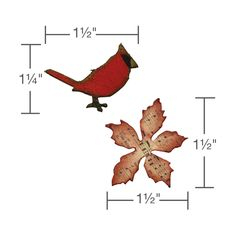 658266 Sizzix Movers & Shapers Magnetic Die Set 2PK - Mini Cardinal & Poinsettia