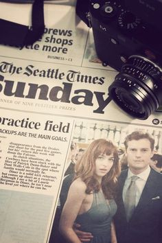 Anastasia Steele and Christian Grey on page one of the Seattle Times. | Fifty Shades of Grey | http://www.pinterest.com/lilyslibrary/
