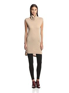 Magaschoni Women's Sleeveless Turtleneck Hi-Lo Tunic Sweater (Chestnut) 99