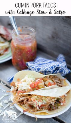 Cumin Pork Tacos with Cabbage Slaw & Salsa (An awesome recipe from the brand new cookbook The Elliott Homestead Family Table):