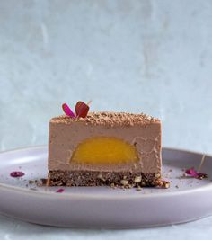 Chocolate panna cotta with passion fruit bombs and biscuits - Arrow& Kitchen - Dessert - New Year's Desserts, Gourmet Desserts, Plated Desserts, Gourmet Recipes, Dessert Recipes, Mousse, Small Cake, Molecular Gastronomy, Pavlova