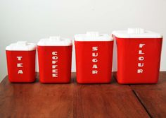 Check out this item in my Etsy shop https://www.etsy.com/listing/271395533/vintage-set-of-4-red-plastic-canisters