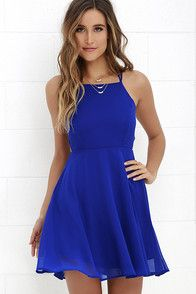 Lulus Exclusive! Reward your good behavior with a treat like the Good Deeds Royal Blue Lace-Up Dress! Dreamy, lightweight Georgette sweeps across a princess-seamed bodice and strappy apron neckline, plus a lacing open back. Full skater skirt has a bit of elastic at back. Hidden back zipper.