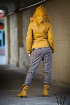 Felted Jacket. Crinkled elbows is a great solution as felted sleeves have tendency to stretch a lot. Nice design!