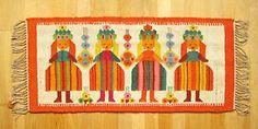 Vintage Polish HANDWOVEN WOOL KILIM 111x50 cm | Tapestry Rug | Cepelia 1970s