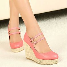 Wedges Shoes | Top Quality Pink PU Round Closed Toe Wedge High Heel Wedges - Hugshoes.com