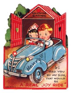 Vintage Valentine Card Kids in a Car Convertible Joy Ride