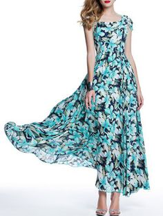 Blue A-line Beach Chiffon Maxi Dress