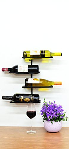 Wine Racks - Superiore Livello Pisa Metal 4 Bottle Wall Mounted Wine Rack Industrial Style Living Wall Mounted Wine Storage Rack Wine Bottle Storage Rack  *** To view further for this item, visit the image link.