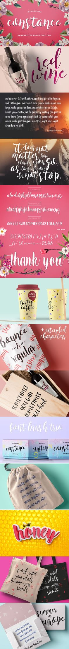 Constance Brush Font Trio. Fonts. $8.00