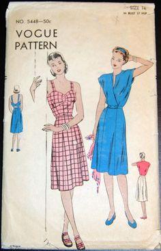 Vintage Original Vogue 40's Dress/Jacket Pattern No. 5448