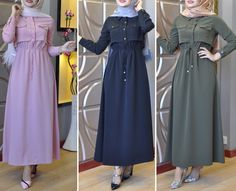 Pinterest: just4girls Modesty Fashion, Abaya Fashion, Muslim Fashion, Fashion Dresses, Hijab Style Tutorial, Sleeves Designs For Dresses, Modele Hijab, Hijab Chic, Clothes For Women