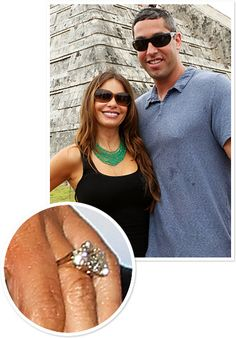 Sofia Vergara and Nick Loeb: To celebrate turning 40, the Modern Family star took 90 of her friends and family members on a Mexican vacation, where they witnessed her longtime beau Nick Loeb pop the question at the Mayan pyramids of Chichen Itza in Yucatan. Her ring features a seven-carat center square, cushion-cut diamond flanked by a diamond on either side. EXCLUSIVELY designed by TWO by LONDON, the engagement shop at London Jewelers!