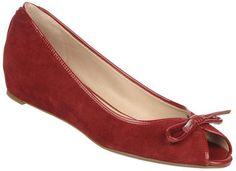 ShopStyle: FRANCO SARTO Model Hidden Sliver Wedge Peep-Toe Flats