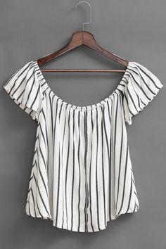 Stripe Pattern Off Shoulder Shirt - US$11.95 -YOINS