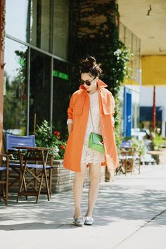 Twill Swing Trench: J.Crew Lace Dress: Vintage(similar here and here) Silver Loafers: Miu Miu Mini Crossed Body Bag: Mulberry Sunglasses: Ka...
