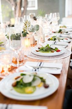 clean lined white plates / dinnerware