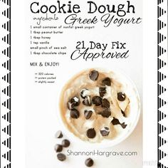 One of my Favorite snacks! 21 Day Fix Approved! If you are doing 21 Day Fix Extreme, you cab replace the honey with a bit of Stevia and the chocolate chips with fruit! Just as delicious Day Fix Recipes Snacks) 21 Day Fix Desserts, 21 Day Fix Snacks, 21 Day Fix Diet, 21 Day Fix Meal Plan, Healthy Sweets, Healthy Snacks, Healthy Recipes, Fruit Snacks, Healthy Yogurt