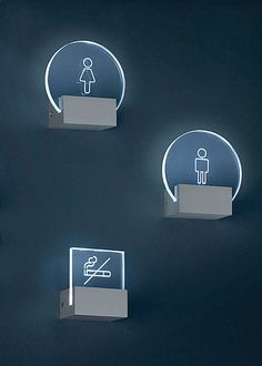 Ref: Signs wall lamp Versions: USA UK J DIfusser: Methacrylate Frame: Aluminium Finishes: Aluminium Bulb: LED 3 x Wc Icon, Wayfinding Signs, Directional Signage, Sign System, Displays, Environmental Graphic Design, Signage Design, Led Lampe, Wall Signs
