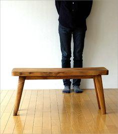 木製ベンチ 長椅子 背もたれなし リビング インテリア デザイン 無垢材 シンプル ウッドベンチ カーブ