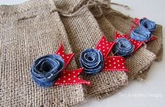Burlap Favor Gift Bags with Denim Flowers, Americana, Summer, 4th of July Set/5 by TeaAndHoneyDesigns on Etsy