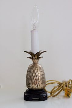 Vintage Brass Pineapple Lamp with Black Wood Base by PendletonMarket on Etsy