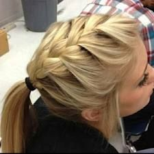 Top braid and low pony tail, perfectly casual! I wish I could do this and make it look good!