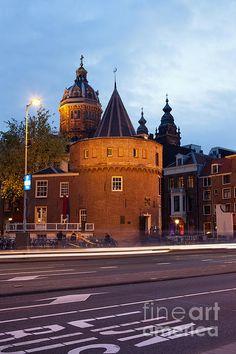 Weeping Tower (Dutch: Schreierstoren) at dusk in Amsterdam, Netherlands.