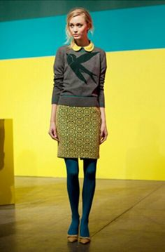 turquoise tights with gray and yellow and green