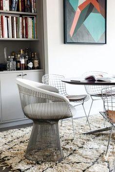 Bar and books — plus Bertoia Side Chair and Warren Platner Armchair