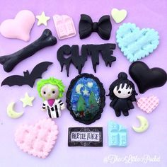 Beatle Juice Polymer Clay Cabochons Figure Characters Tim Burton