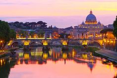 Gorgeous view of St. Peter's Basilica from Castel Sant'Angelo in Rome, #Italy.  #travel