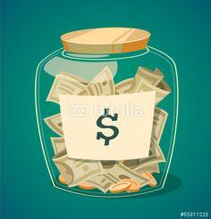 Wektor: Saving money jar. Vector illustration.