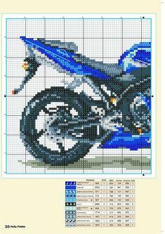 Motorcycle x-stitch 2 Diy Embroidery, Cross Stitch Embroidery, Embroidery Patterns, Cross Stitch Patterns, Suzuki Motos, Cross Stitch Boards, Minecraft Pixel Art, C2c, Brick Stitch