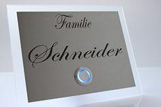 Edelstahl Türklingel Klingel Klingelplatte Schneider-s mit LED Taster (z.B. weiß / blau...), Acrylplatte und Gravur / Namensgravur CHRISCK design http://www.amazon.de/dp/B00YS9QUFS/ref=cm_sw_r_pi_dp_MdUJvb00MF5TW