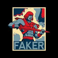 9eac14d8cb4b6a Faker He Man Political Poster Men s T-Shirt. Cloud City 7