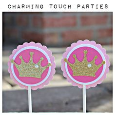 Shades of pink and gold glitter Princess / Crown / Tiara cupcake toppers by Charming Touch Parties.  Pack of 12 deluxe and customizable. by CharmingTouchParties on Etsy